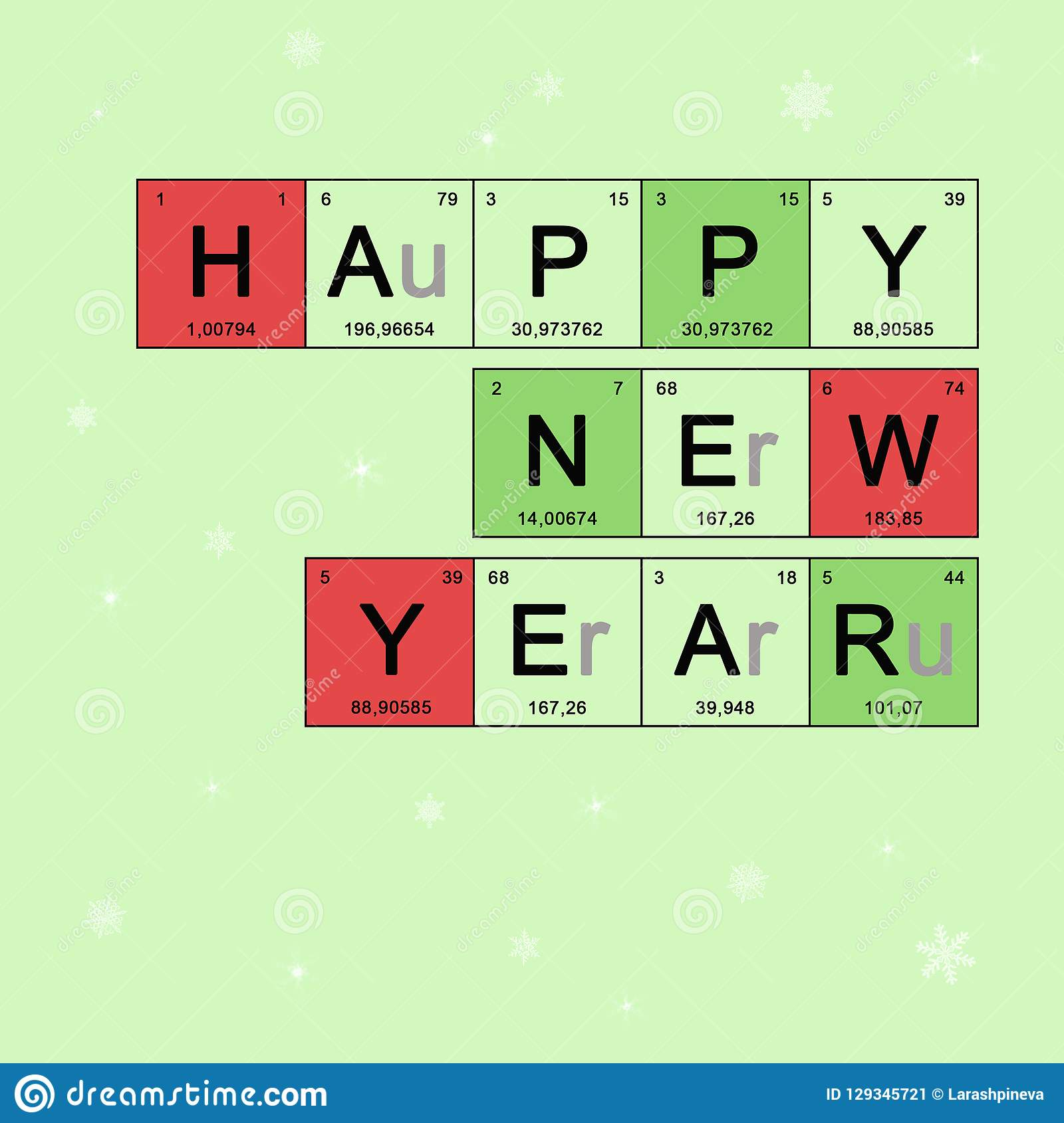 christmas card happy new year chemistry greeting layout banner with periodic table elements