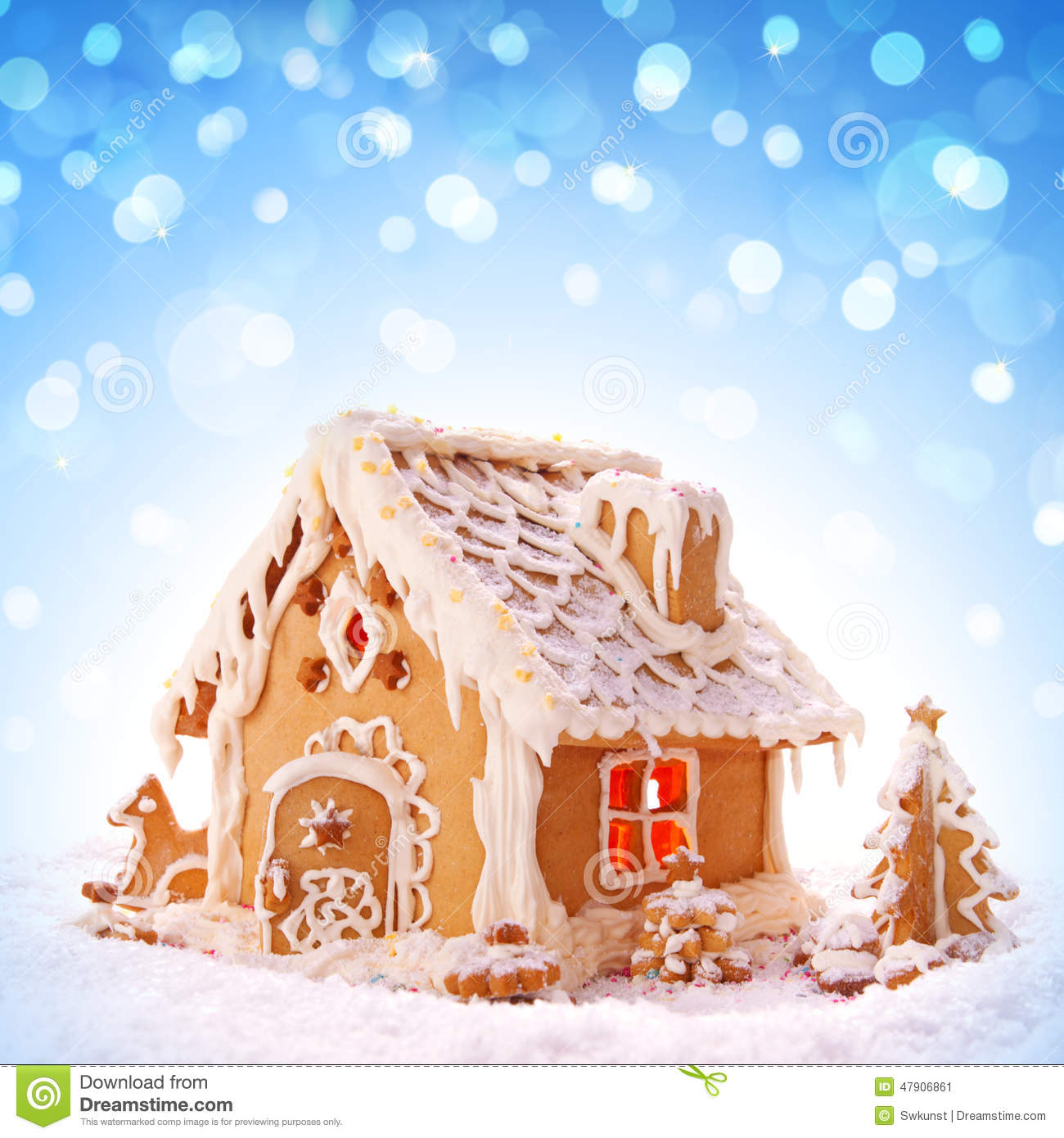 Christmas Gingerbread House Background.Christmas Card Holiday Gingerbread House Stock Image