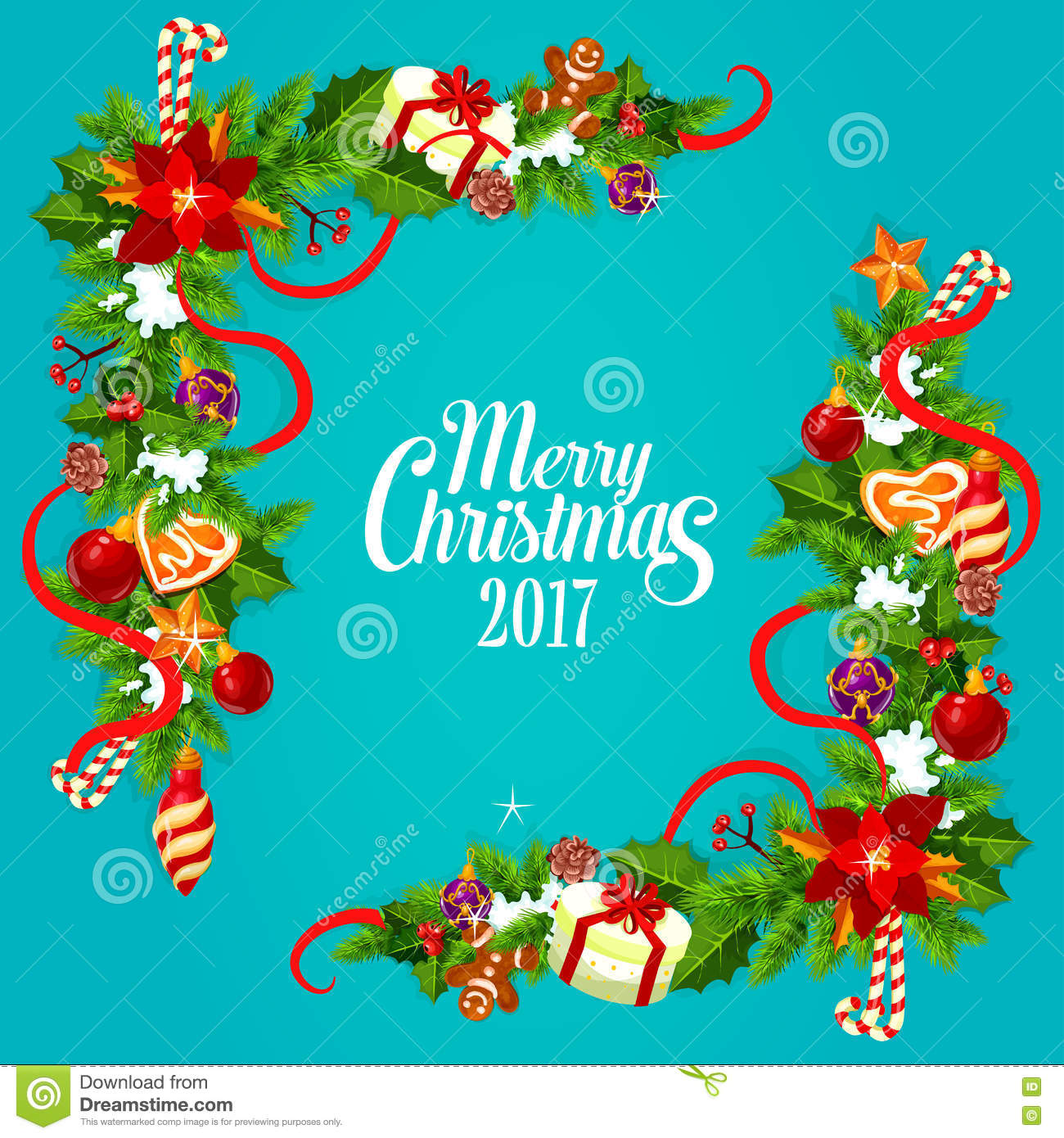 Download Christmas Card With Holly And Pine Garland Corner Stock Vector