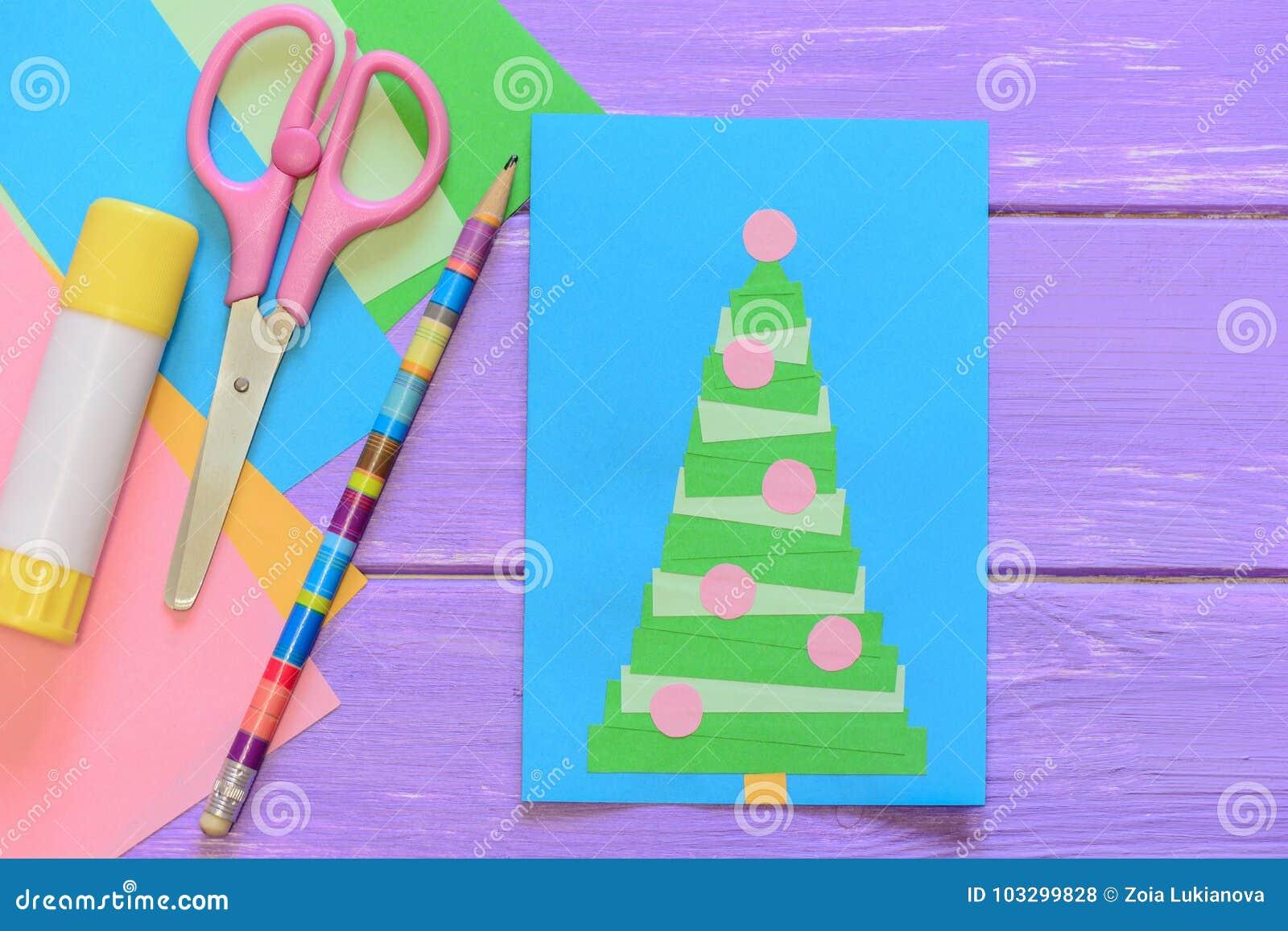 Easy Homemade Christmas Card, Scissors, Glue Stick, Pencil, Colored ...