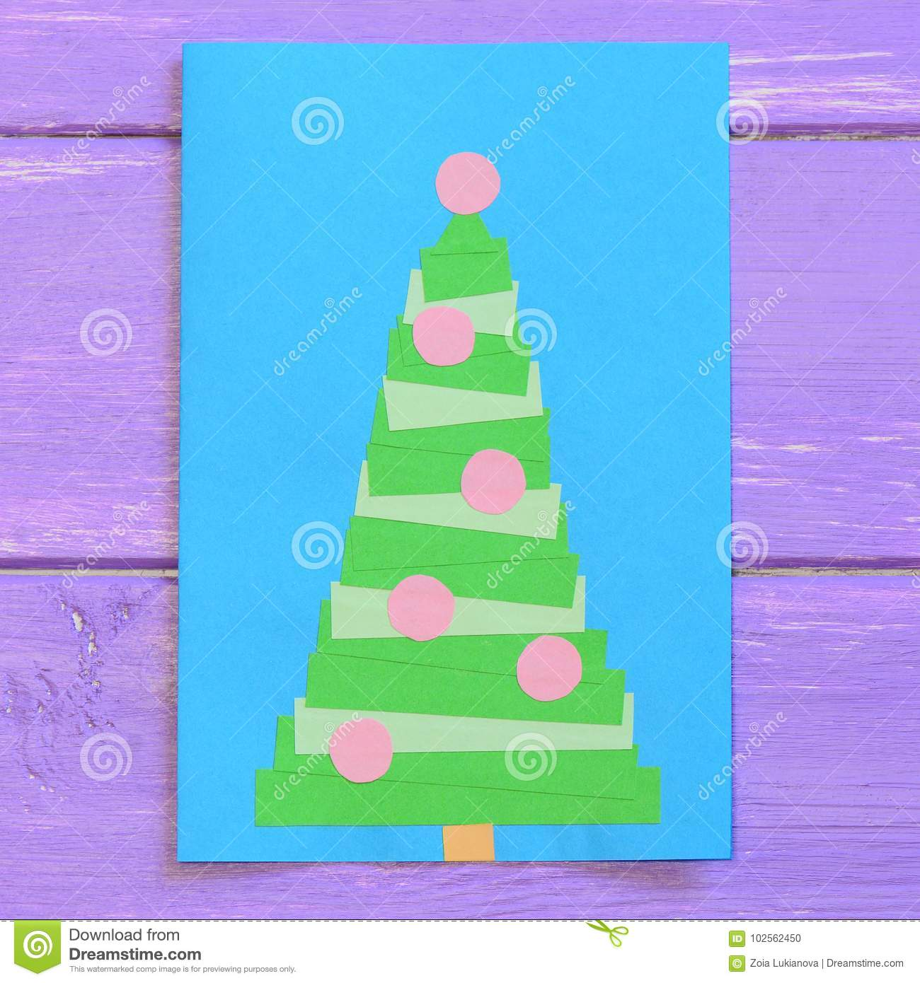 Christmas Card Isolated On Purple Wooden Background Greeting Card
