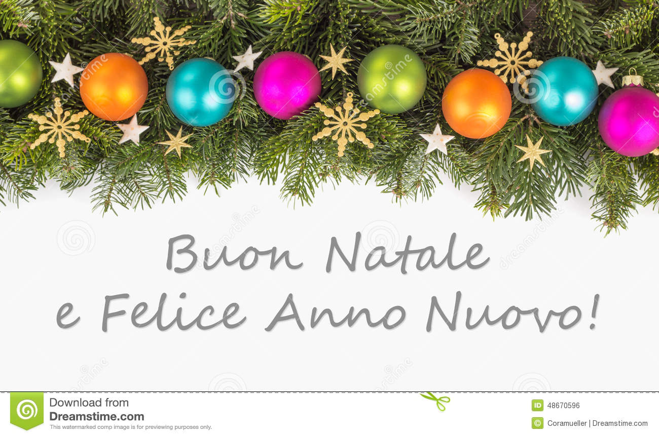italian christmas card with christmas baubles fir branches golden stars and text merry christmas and a happy new year