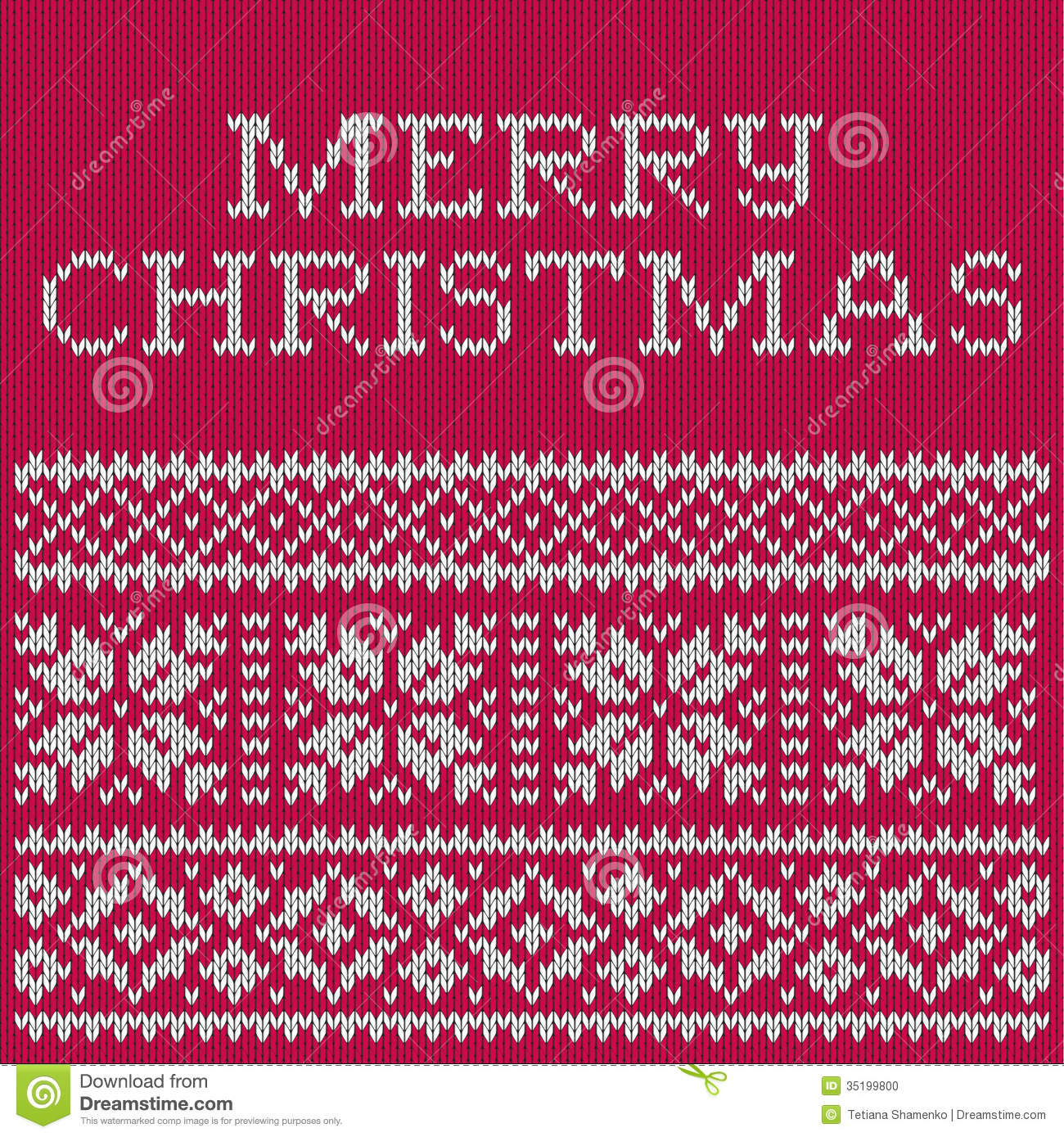 Knitting Patterns For Christmas Cards : Christmas Card, Knitted Pattern Stock Photo - Image: 35199800