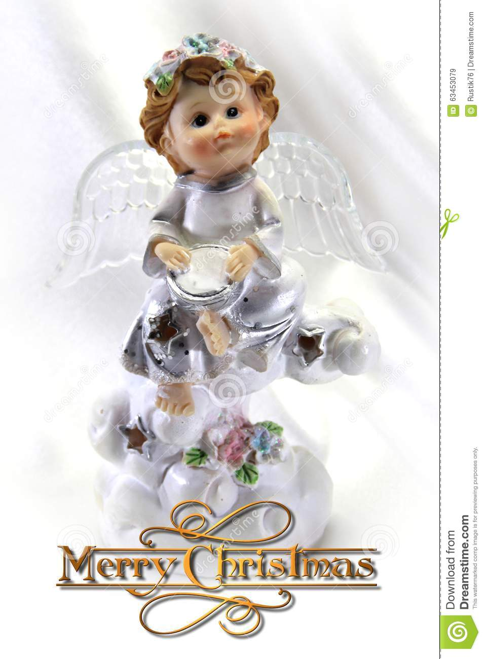 Christmas Card With A Little Angel Vertical