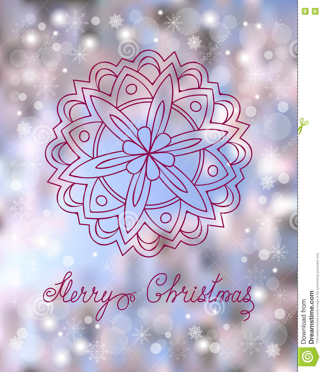 Festive Christmas Card With Hand Drawn Decorated Mandala Snowflakes And Calligraphy Text Merry On The Colorful Background
