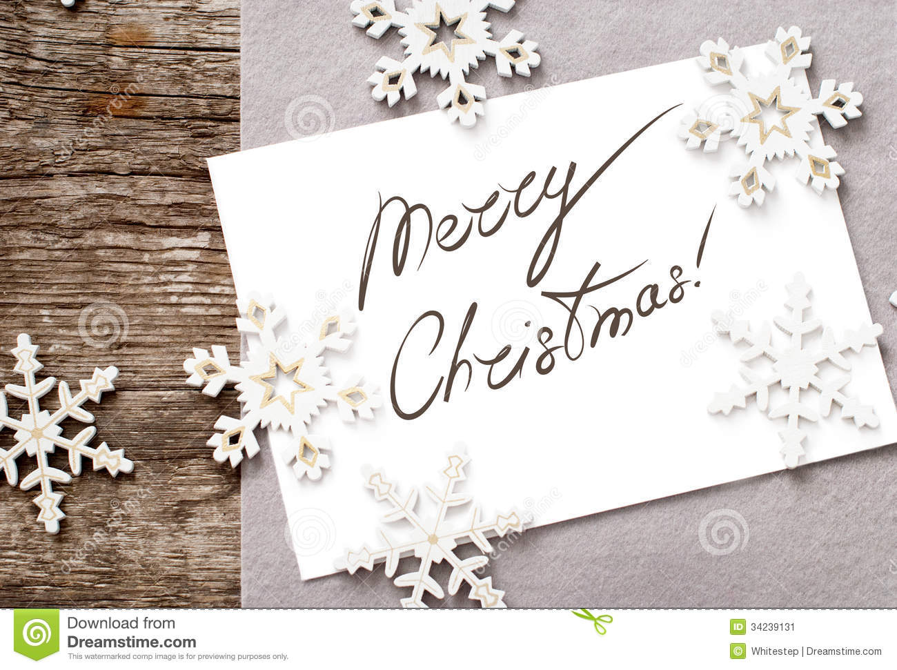 Christmas Card With Message Merry Christmas On The Stock