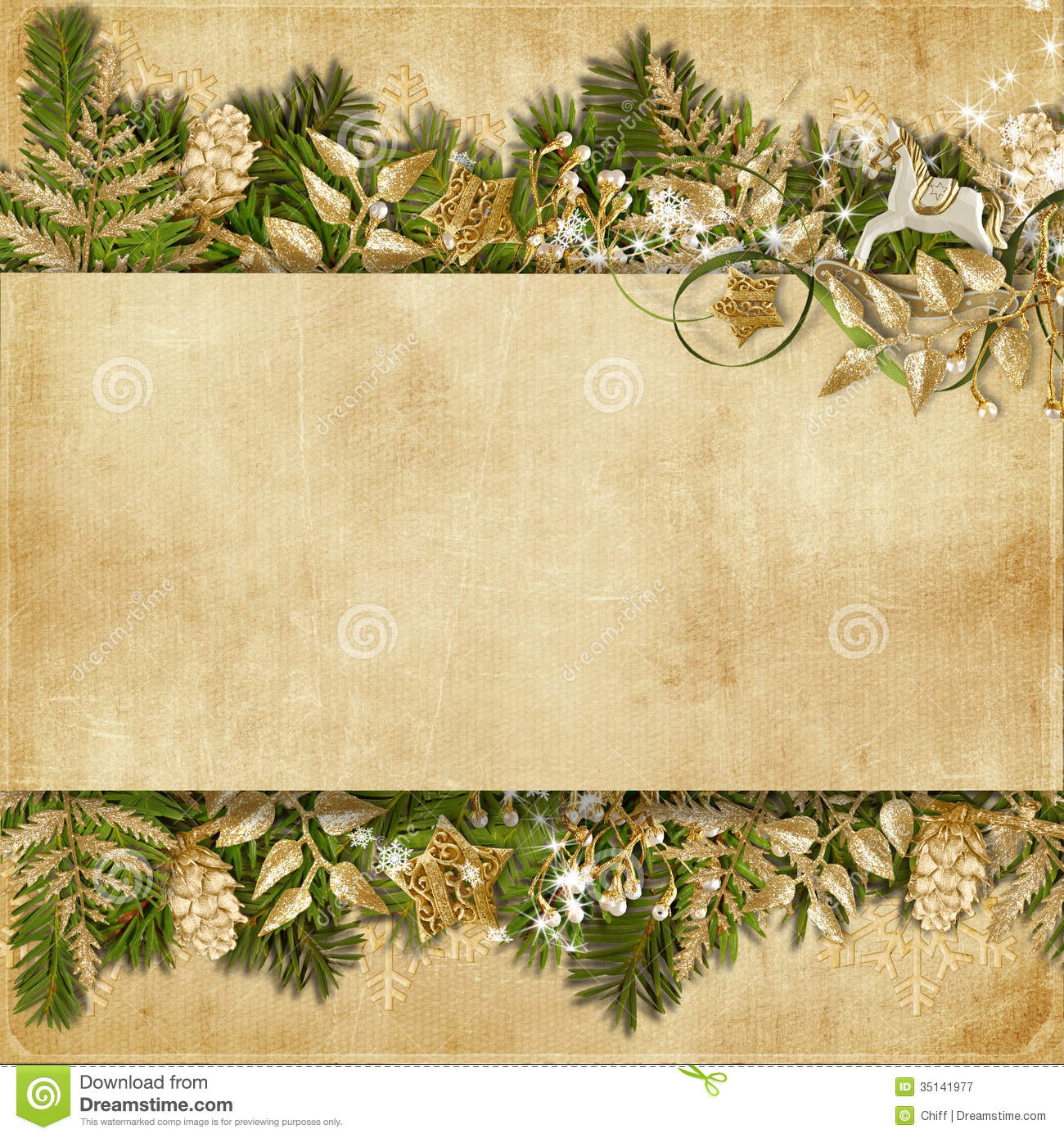 Christmas Card With Miraculous Garland On Vintage ...