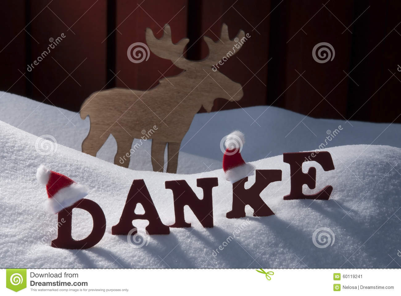 christmas card with moose hat and snow danke meanthank. Black Bedroom Furniture Sets. Home Design Ideas