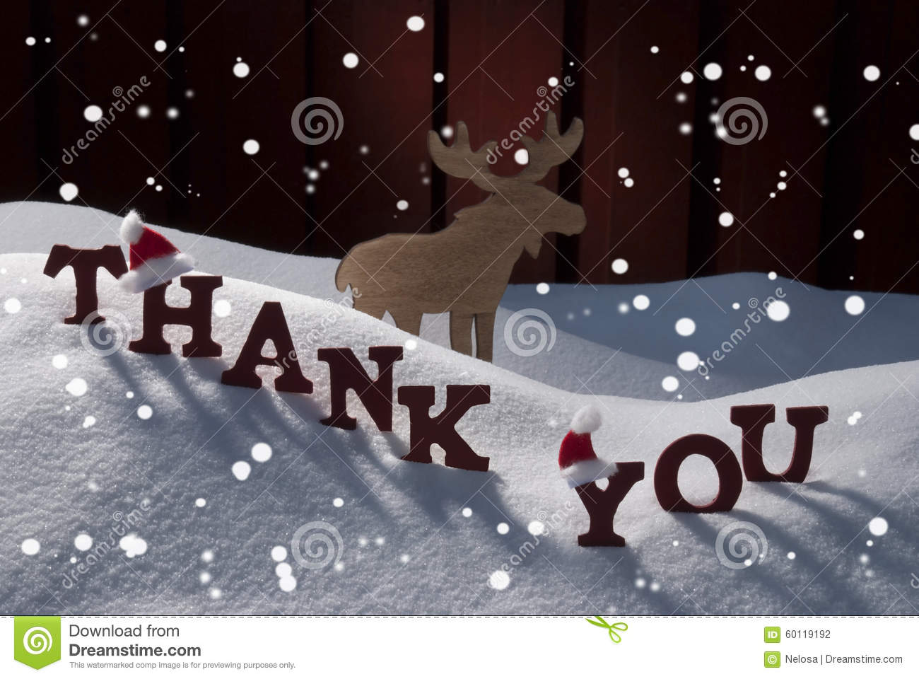 Christmas Card With Moose, Hat And Snow, Thank You, Snowflakes Stock ...