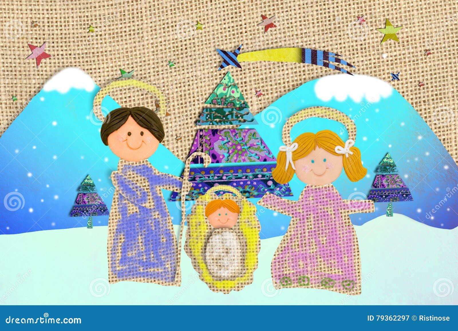 Christmas Card Nativity Scene Childlike Style Stock Image - Image of ...