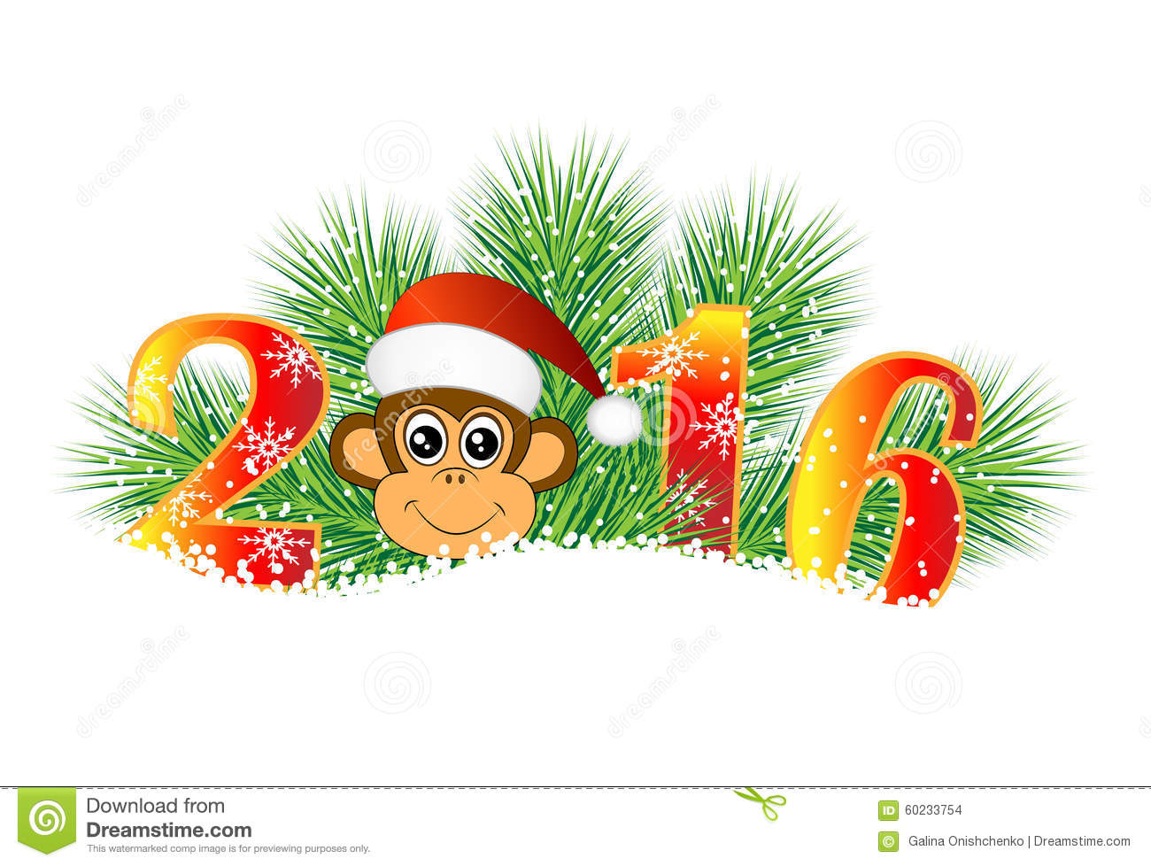 Christmas card with the numbers of the year 2016 and for Wildlife christmas cards 2016