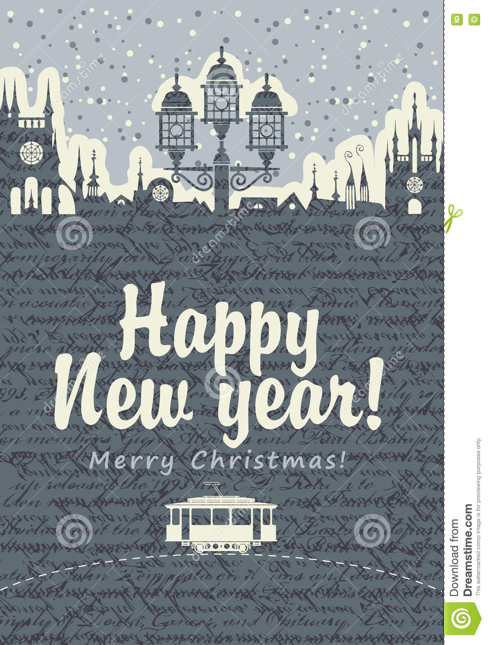 Christmas Card With An Old Tram Stock Vector - Illustration of ...