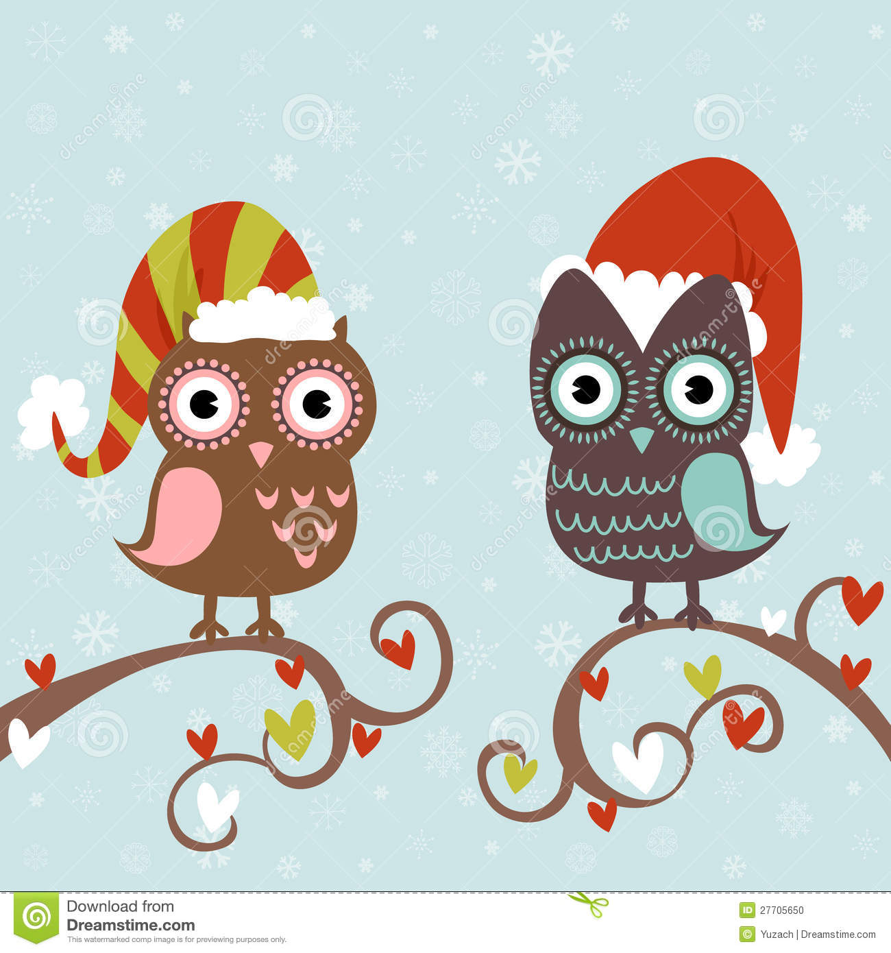 Christmas Card Of Owls In Hats Stock Photo - Image: 27705650