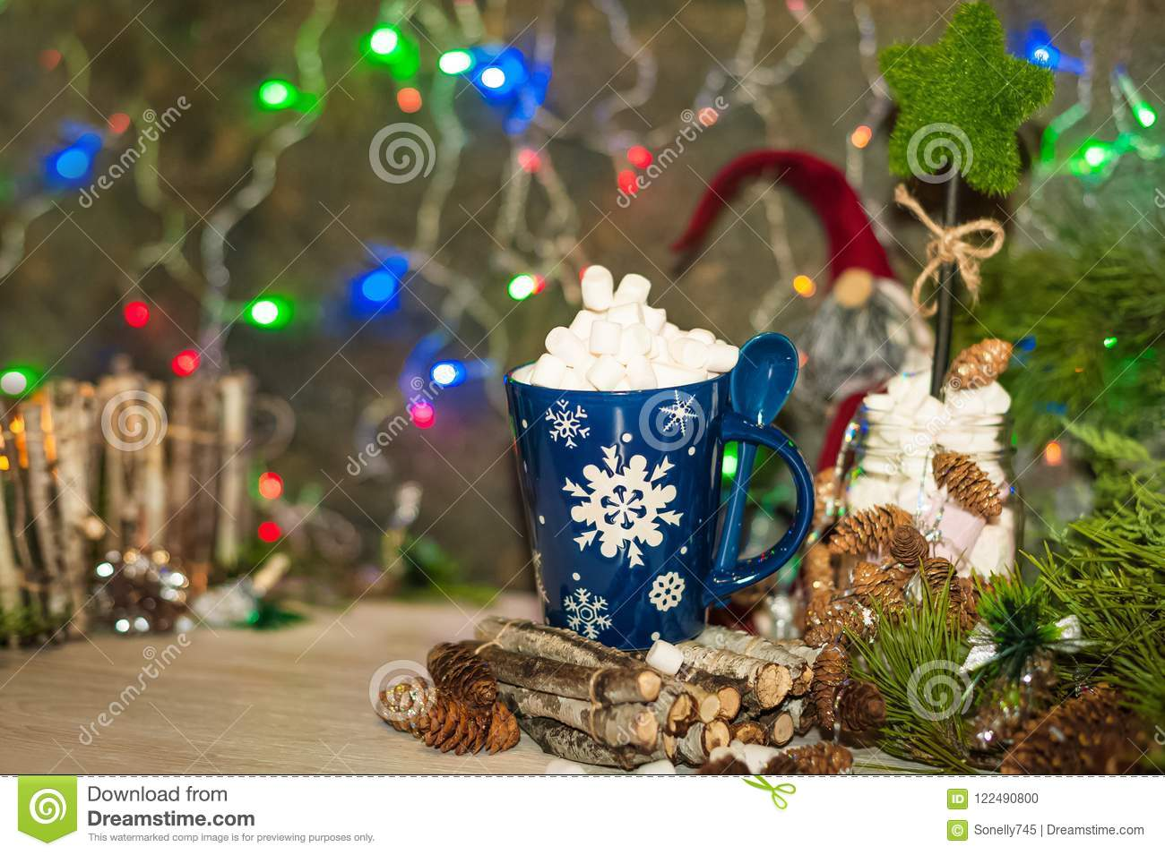 Christmas Card, Photo, Background. Blue Mug With Cocoa And ...
