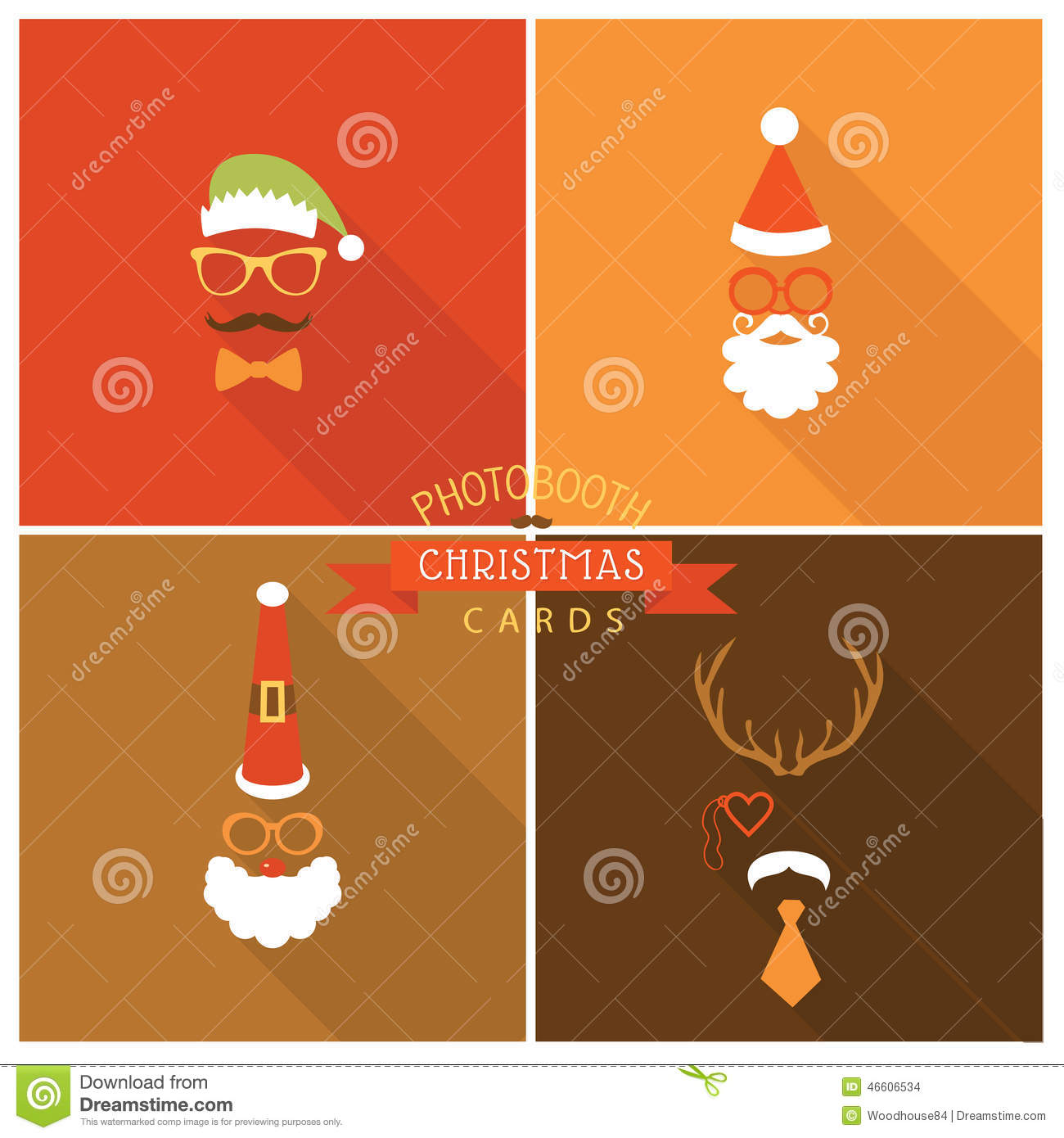 Christmas Card In Photo Booth Style Stock Vector - Illustration of ...