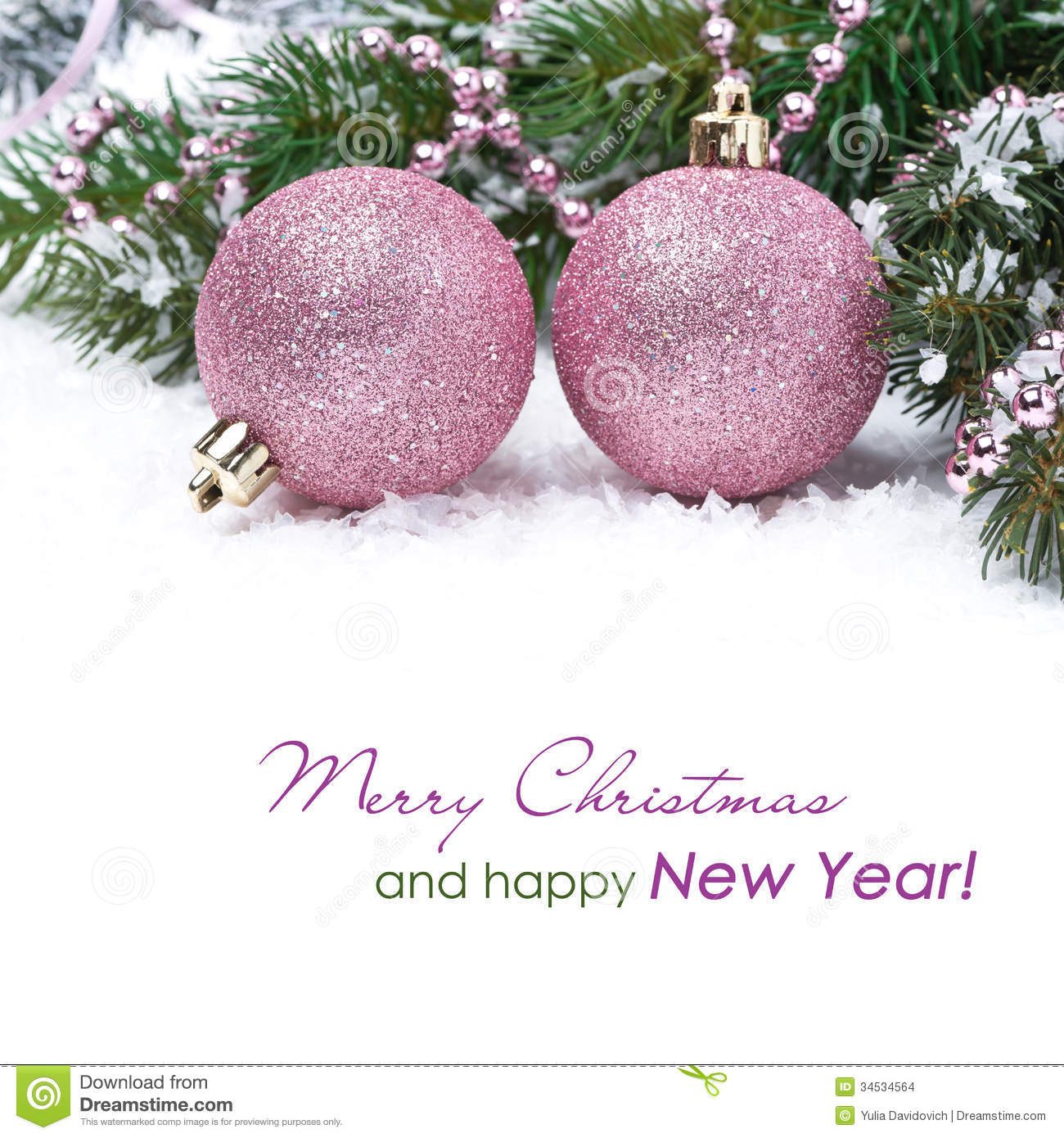 Christmas Card With Pink Baubles Stock Photo - Image of 2014, pink ...