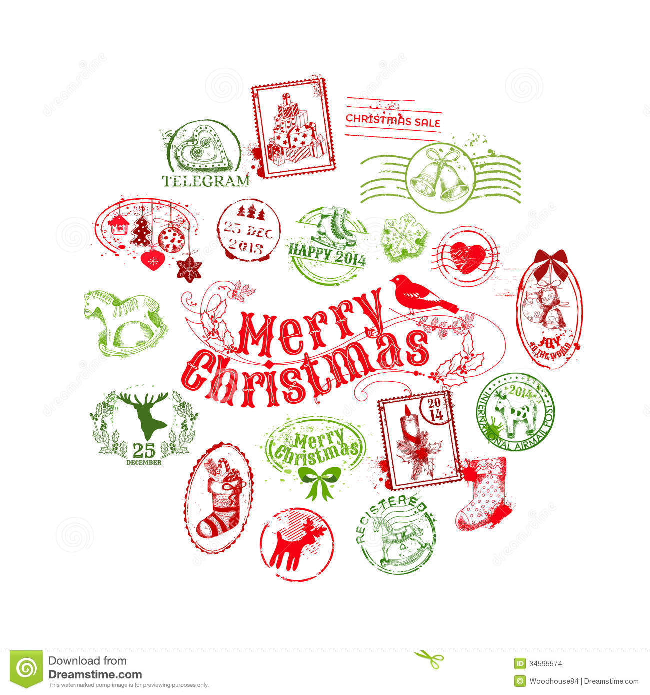 Christmas Card With Postage Stamps Stock Vector Image 34595574