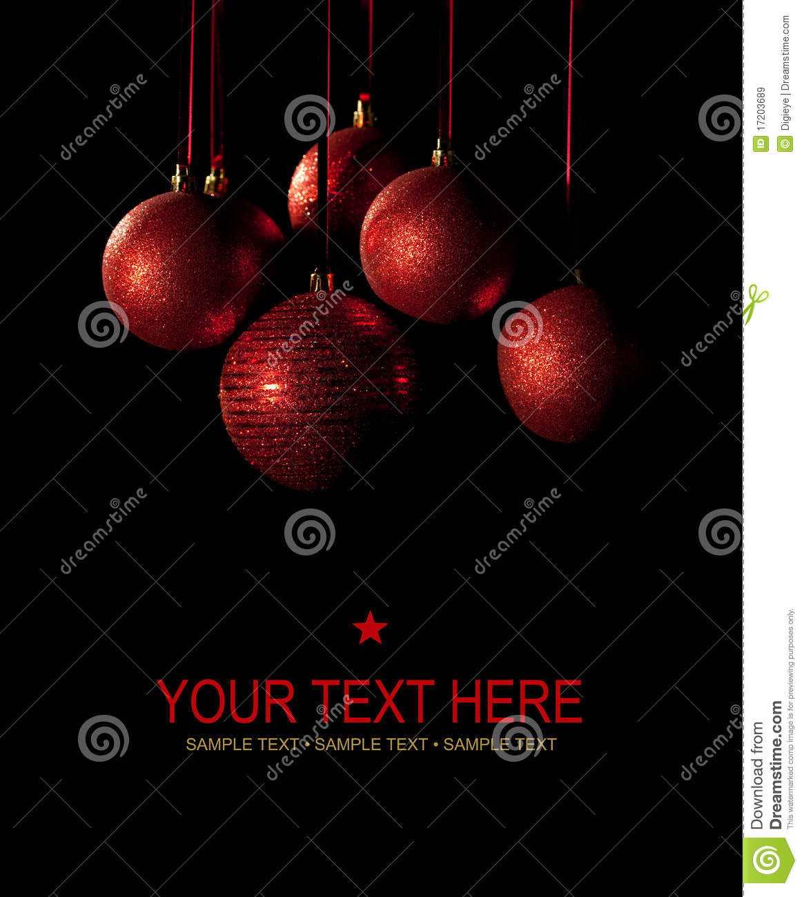 Christmas card - red balls on black background