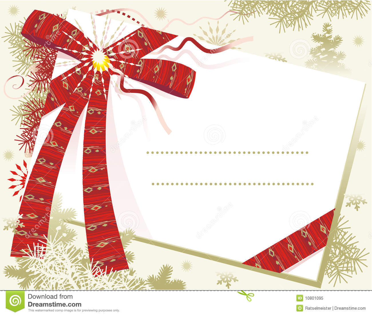 Download Christmas Card With Red Bow Stock Vector - Illustration of postcards, stationery: 10801095