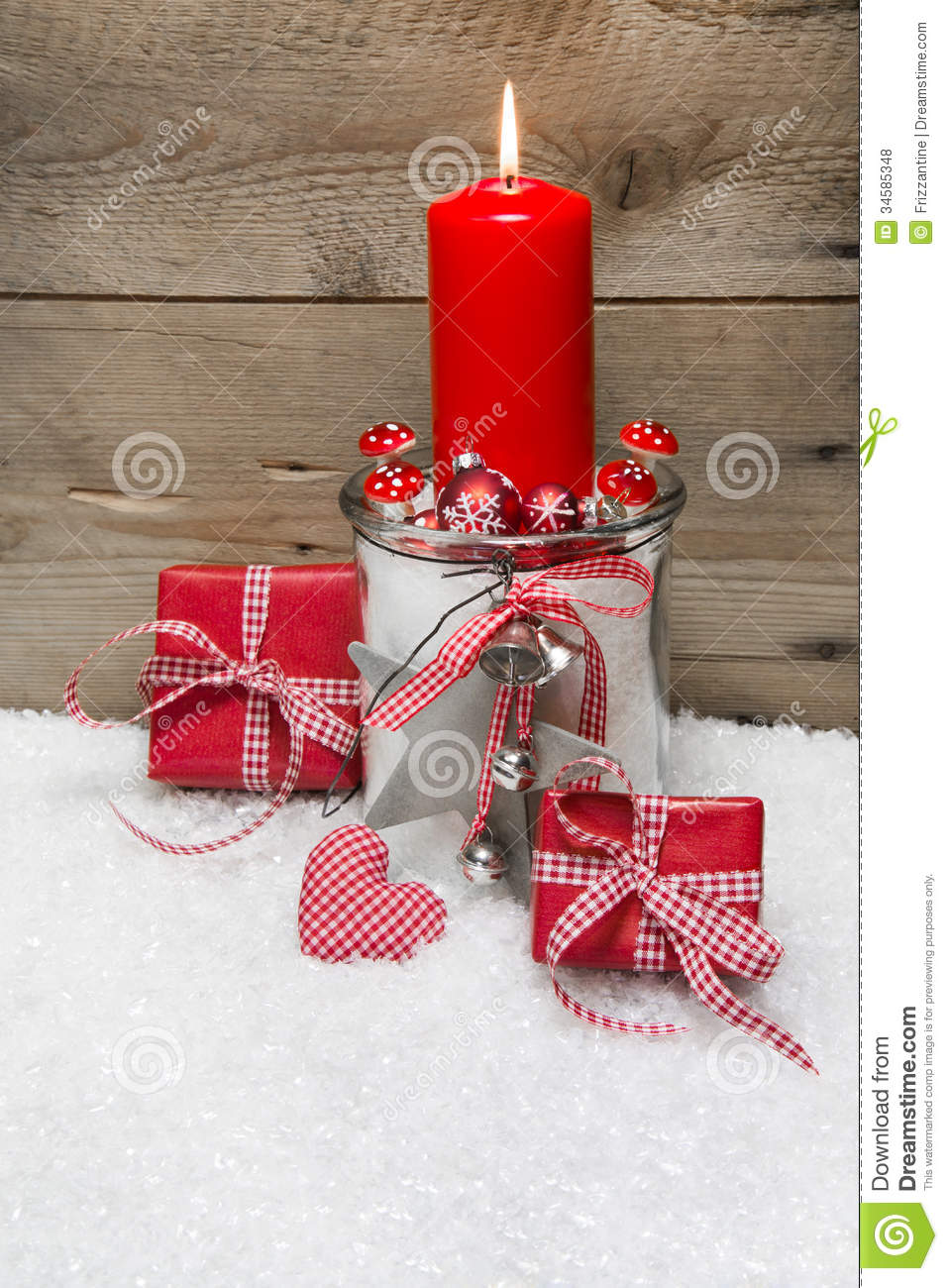 Christmas card with red candles presents red and white for 7 candle christmas decoration