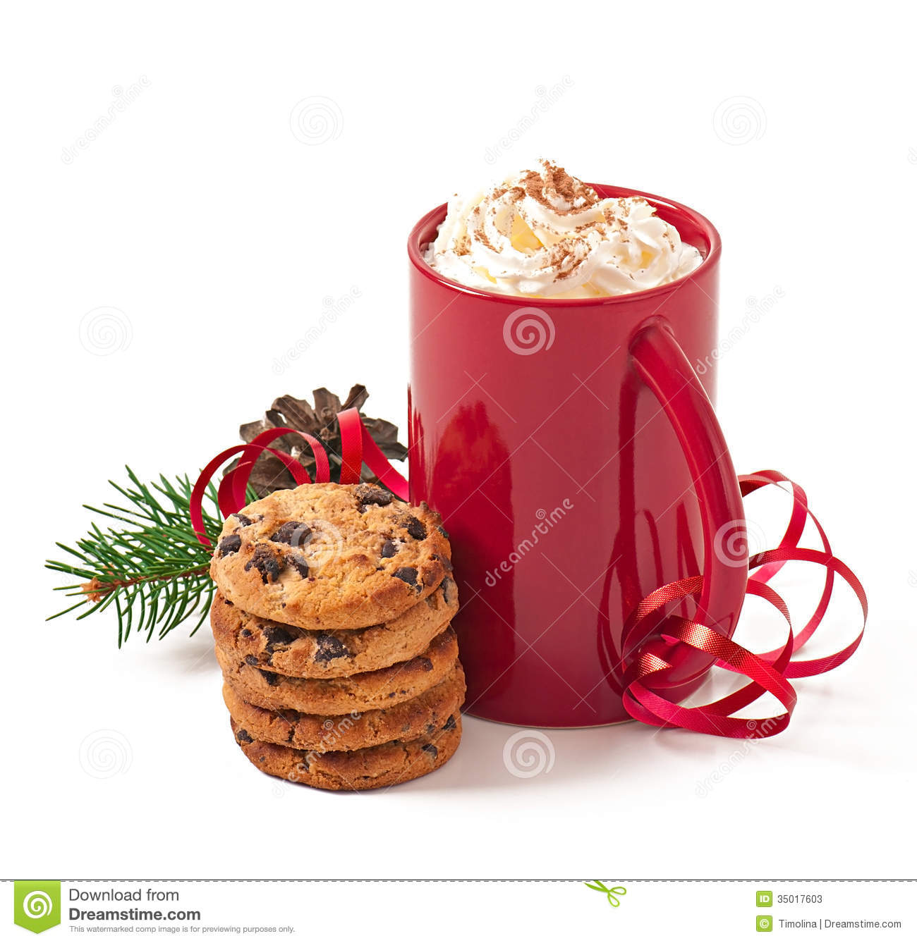 Christmas Card With Red Coffee Cup Topped With Whipped Cream Stock ...