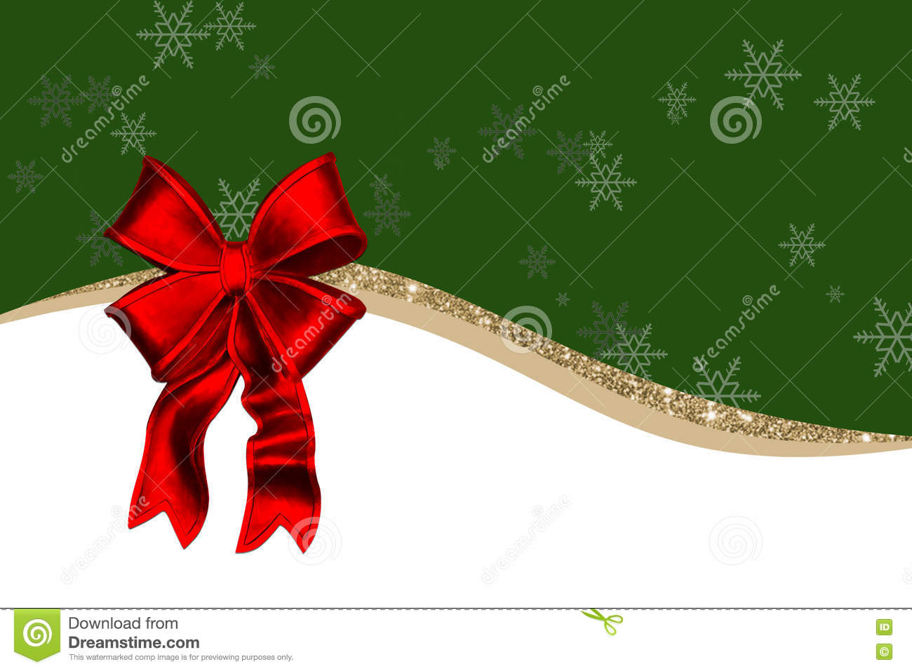 Green Christmas Bow Background Graphics: Christmas Card With Red Decorations, Bow, Golden Ribbon