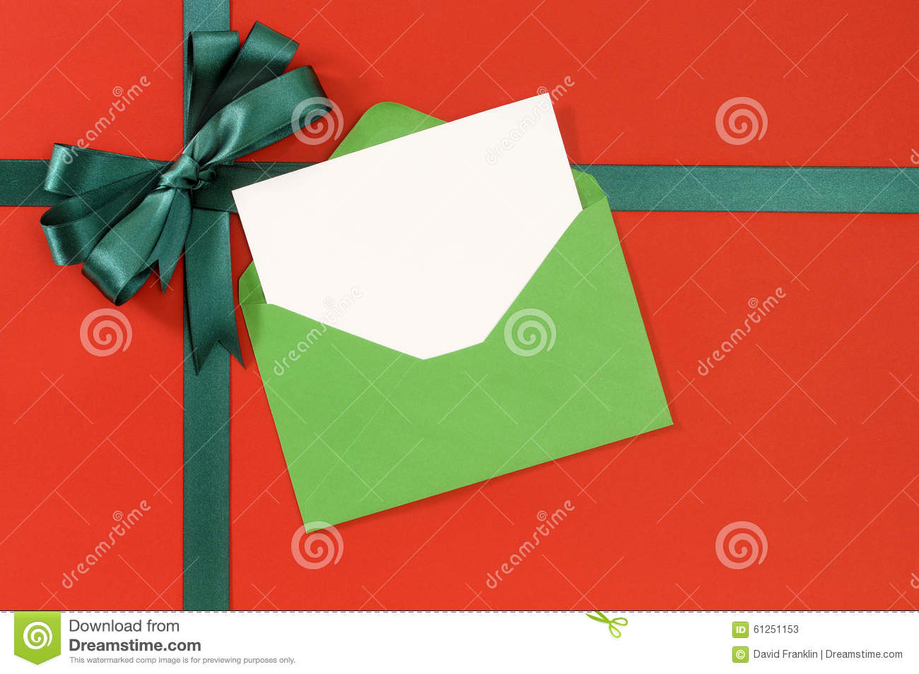 christmas card red gift wrap paper background green gift ribbon