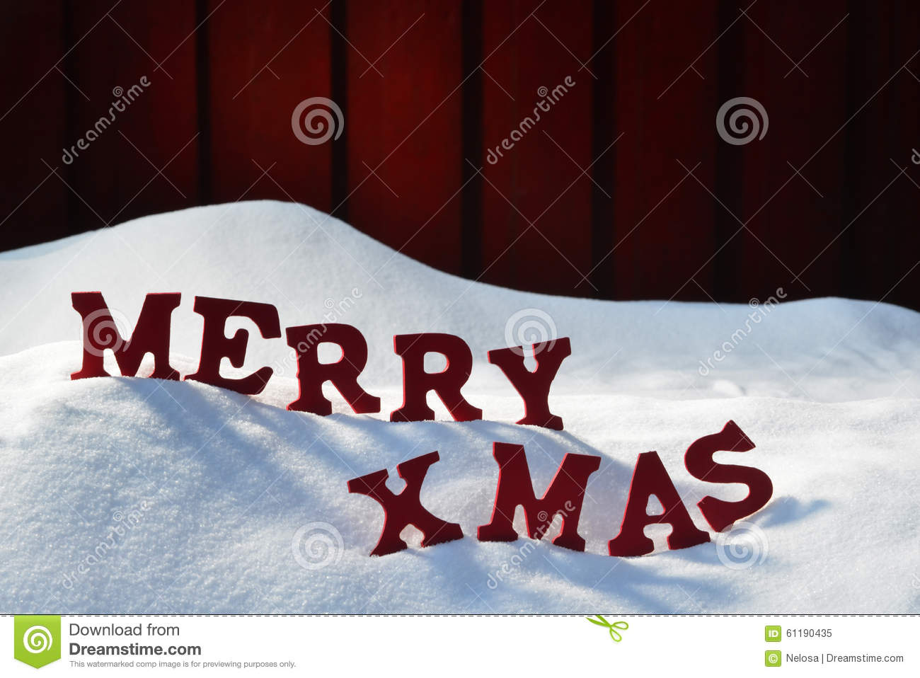 christmas card with red letters merry xmas snow stock image image