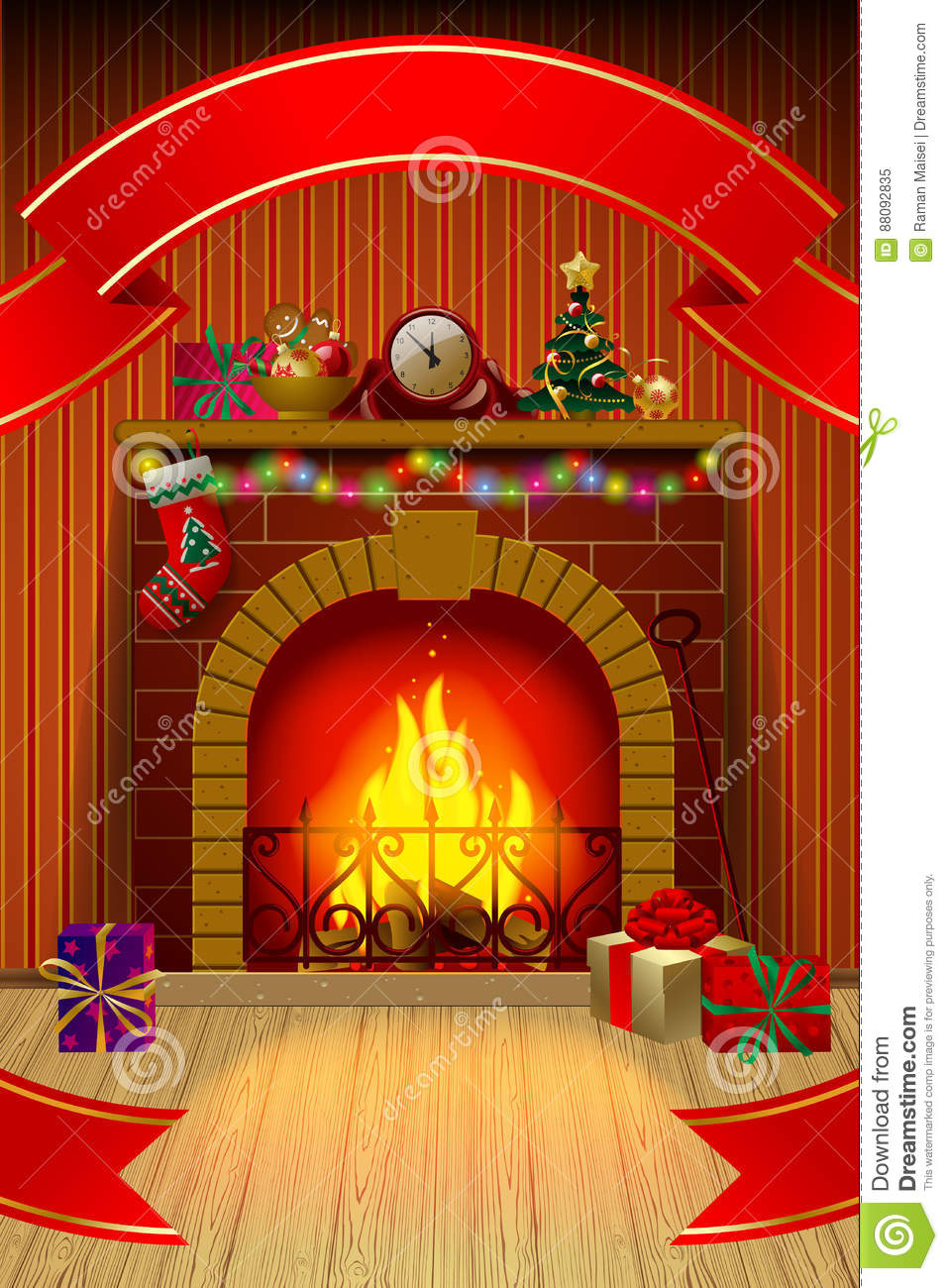 Christmas card with red ribbon, fireplace in interior, holiday d