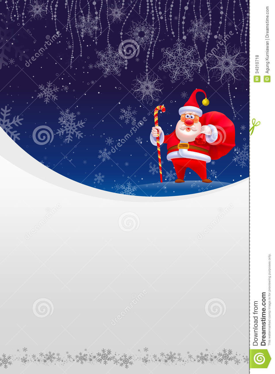 Christmas Card With Red Santa And White Snow Stock