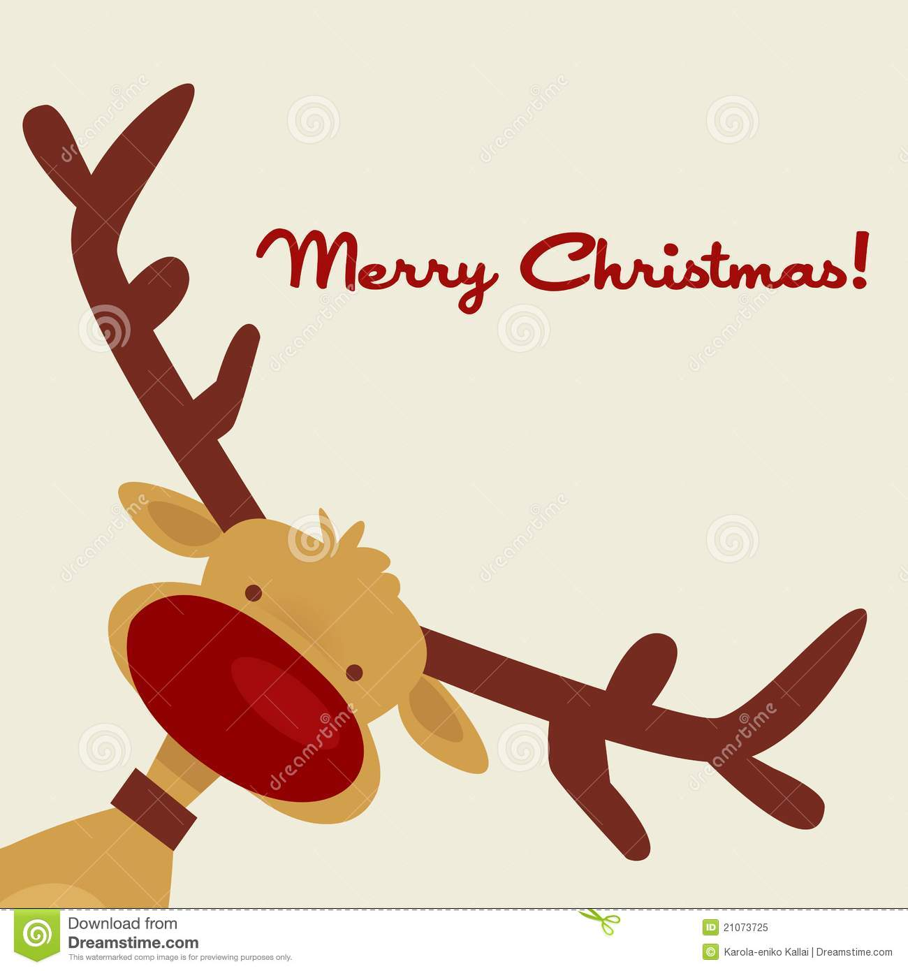 Christmas Card With Reindeer Royalty Free Stock Photo - Image ...