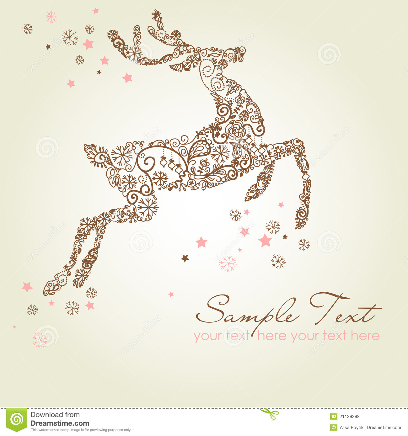 Christmas Card Reindeer Royalty Free Stock Photos - Image: 21139398