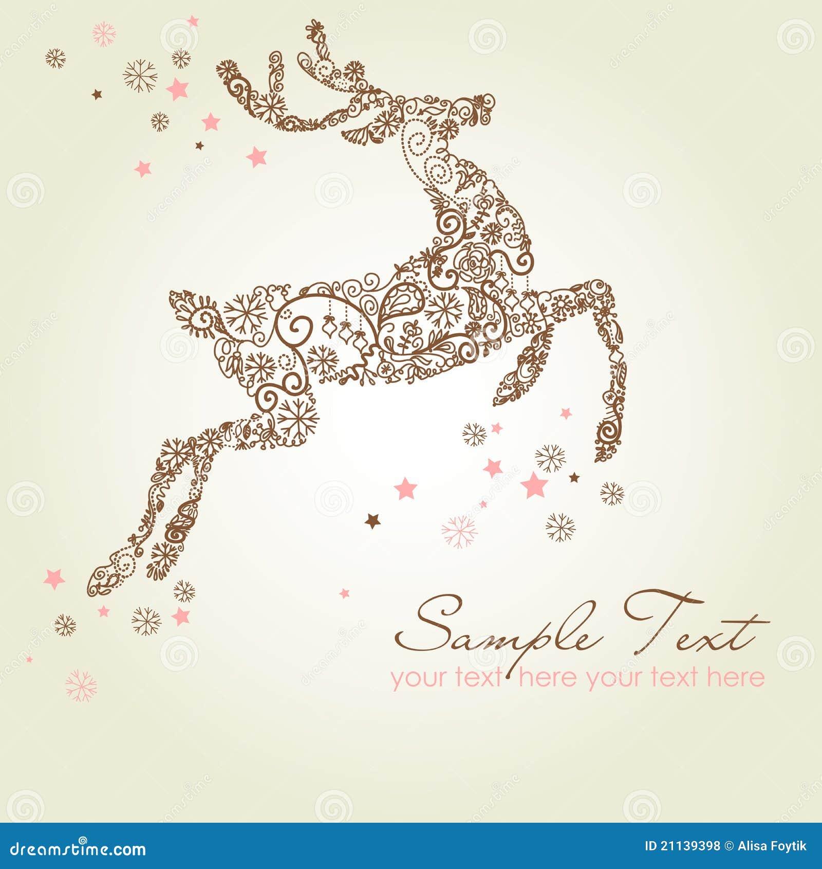 Christmas Card Reindeer Royalty Free Stock Photos Image