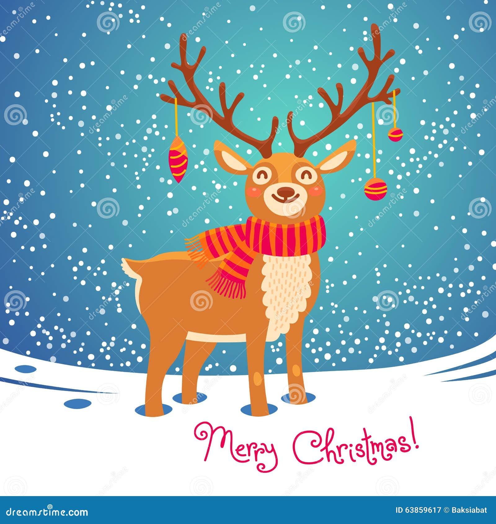 Christmas Card With Reindeer. Cute Cartoon Deer Stock Vector - Image 63859617