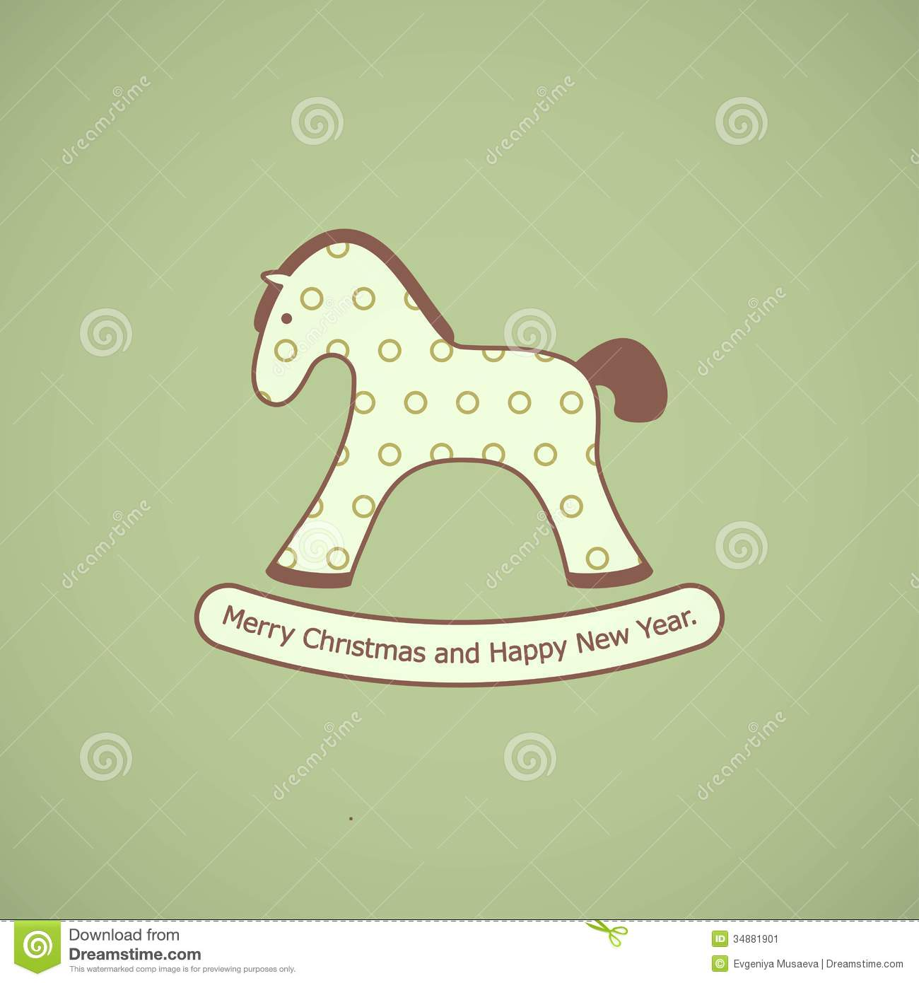 Christmas Card With Rocking Toy Horse Stock Vector Illustration Of Invitation Sweet 34881901