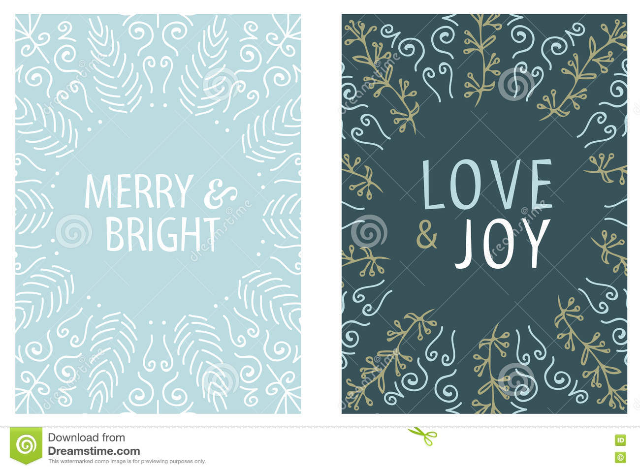 Christmas Card Round Design. Merry And Bright. Love And Joy. Hand ...