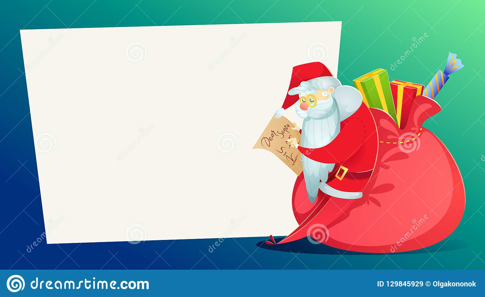 Huge Christmas Card.Christmas Card Santa Claus With A Huge Bag Of Gifts Reads The