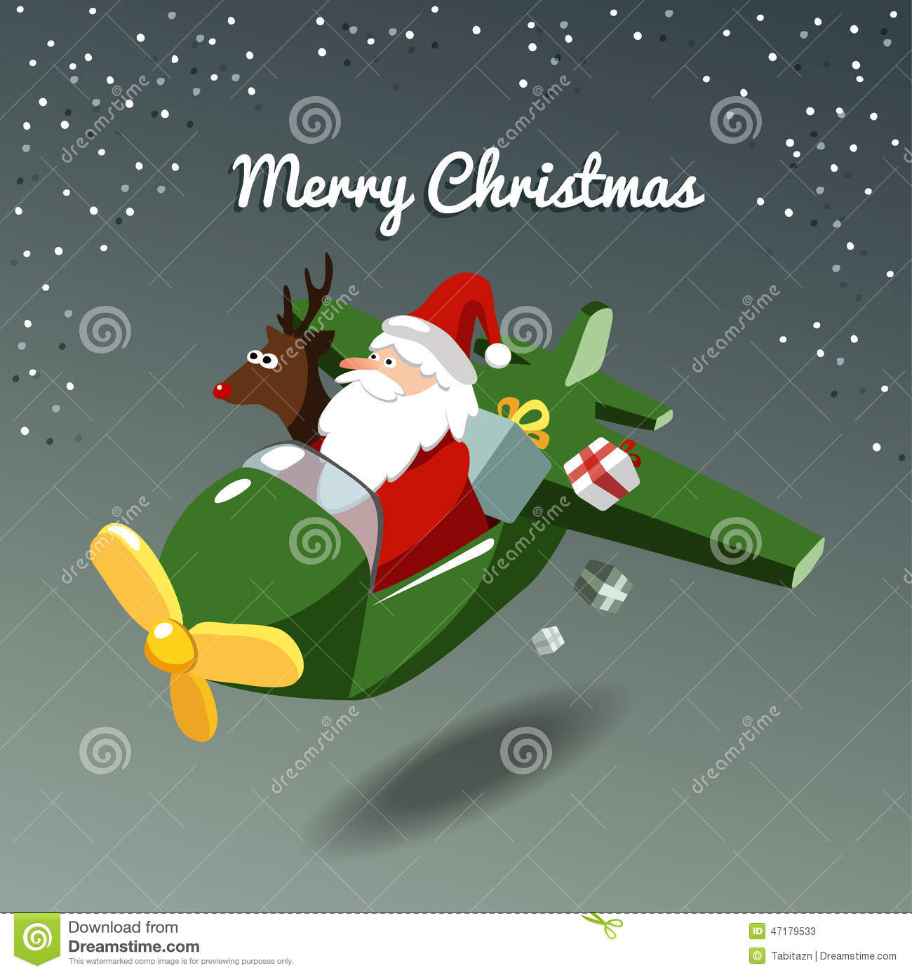 Christmas Card, Santa Claus And Reindeer Rudolph In The Plane Stock ...