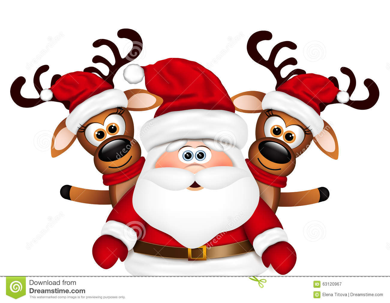 Christmas Card Santa Claus And Two Reindeer Stock Vector ...
