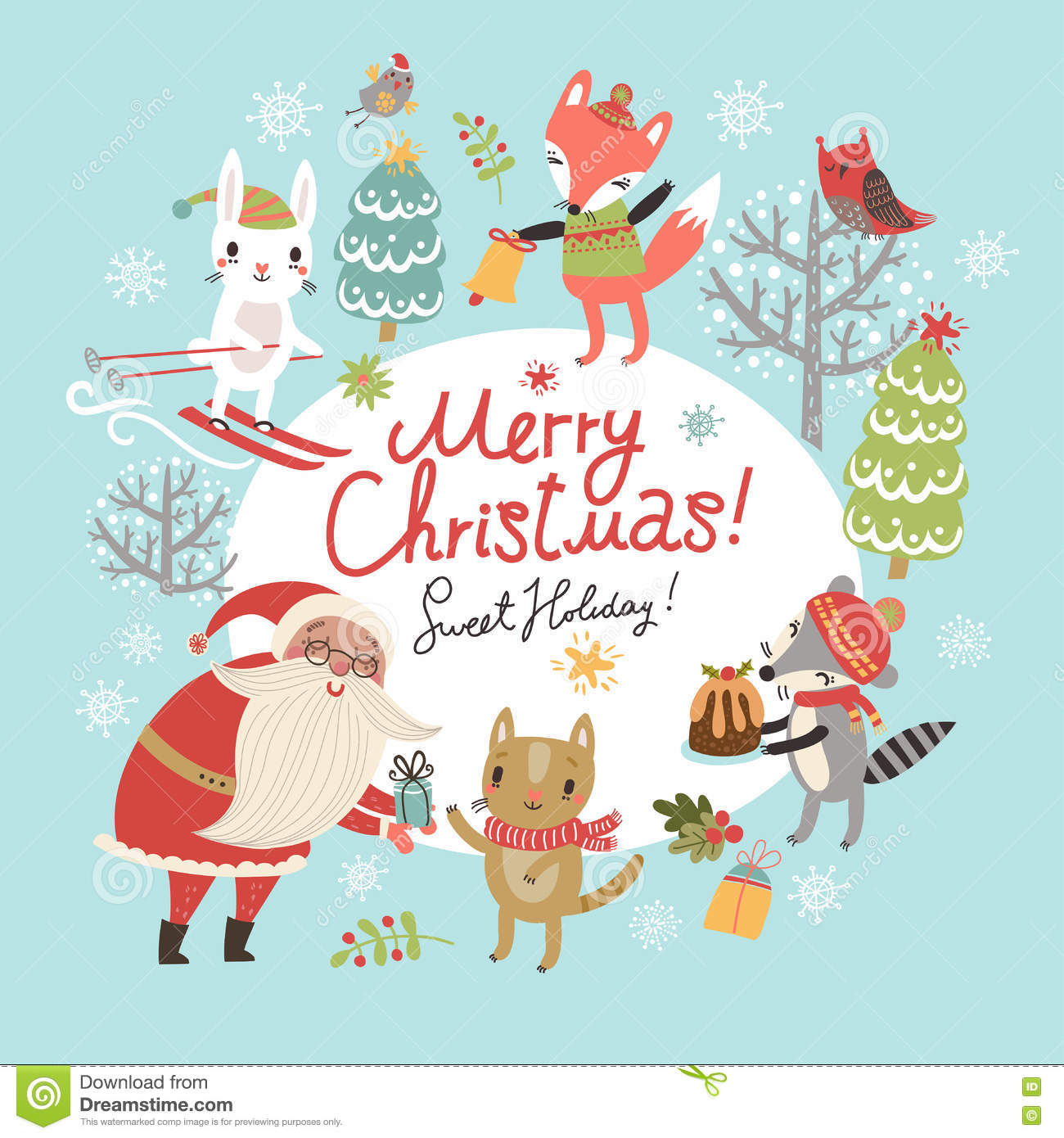 Christmas card with santa and cute characters stock vector christmas card with santa and cute characters kristyandbryce Gallery