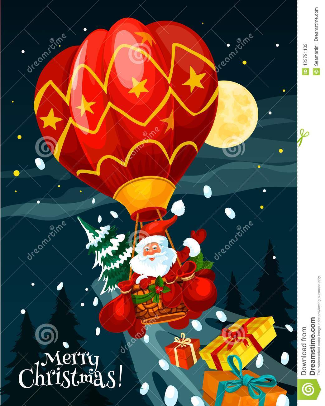 Christmas Card Of Santa With Gift In Air Balloon Stock Vector