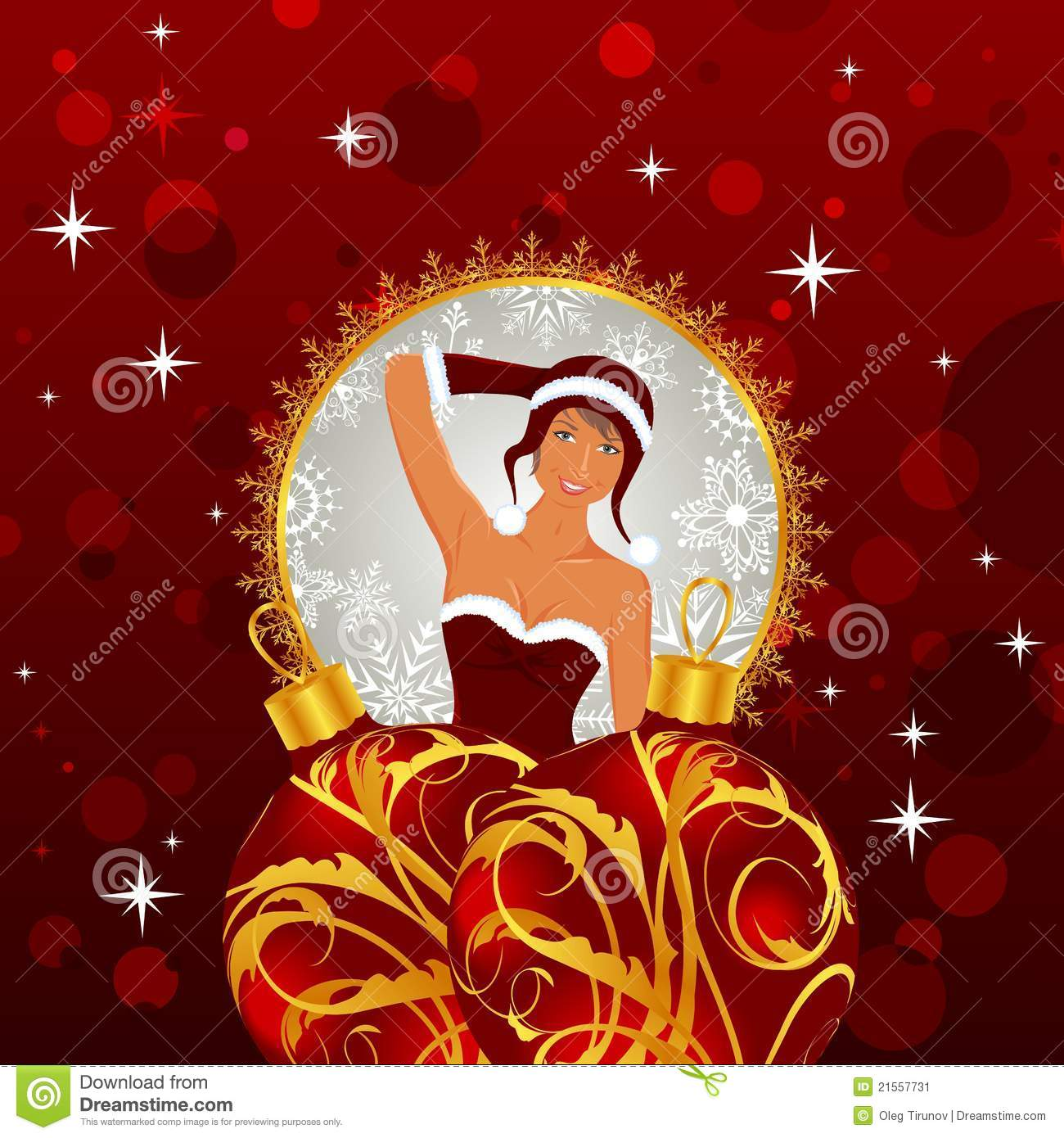 Christmas Card With Lady And Balls Stock Vector - Illustration of ...