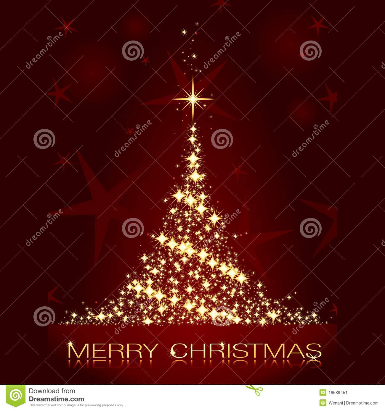 Christmas card with shining golden Christmas tree