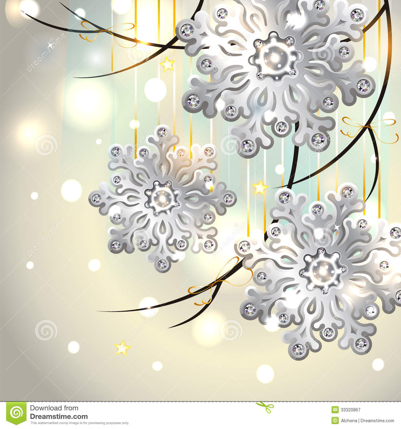 Christmas Card With Silver Snowflakes Royalty Free Stock