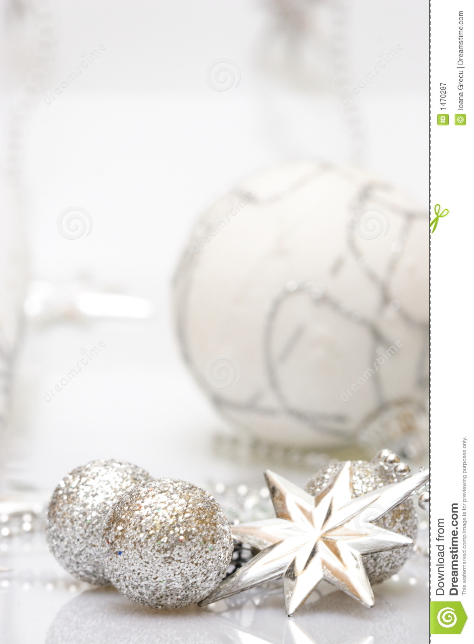 Christmas card with silver star and balls