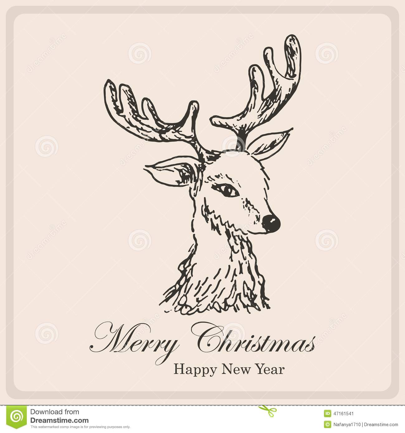 Reindeer Christmas Cards Drawings.Christmas Card With Sketch Deer Hand Drawing Illustration