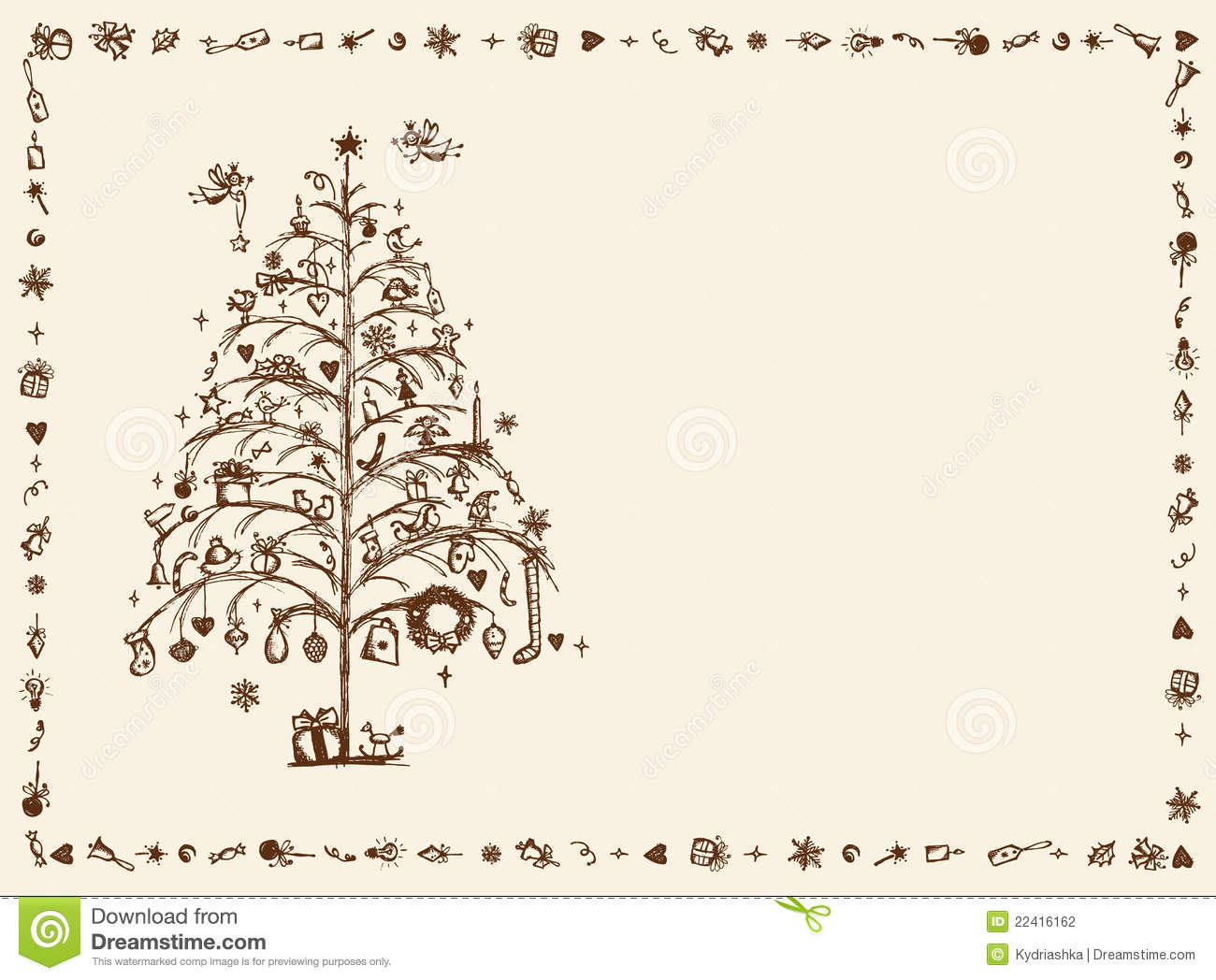 Christmas Card Sketch Drawing For Your Design Stock Photography