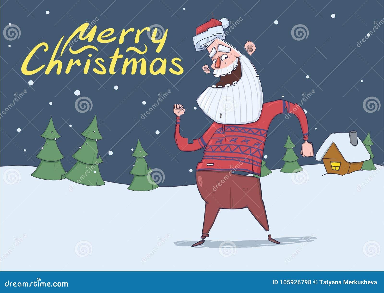 Christmas Card Of Smiling Santa Claus In Deer Sweater Dancing In The ...