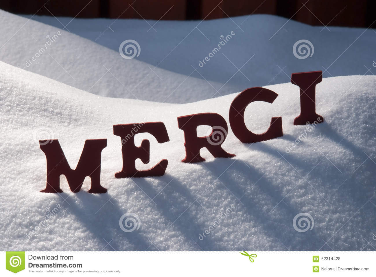 Christmas Card With Snow, Merci Mean Thank You Stock Photo ...