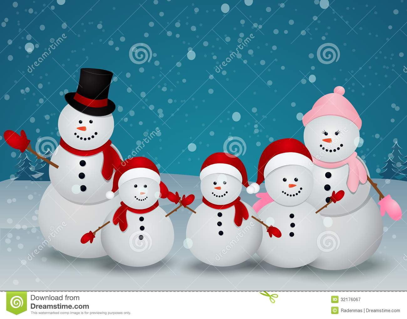 Christmas card with snowman and family royalty free stock - Bonhomme de neige decoration exterieure ...
